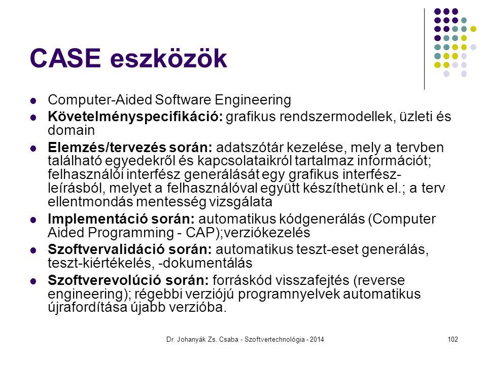 Dr. Johanyák Zs. Csaba - Szoftvertechnológia - 2014 CASE eszközök Computer-Aided Software Engineering Követelményspecifikáció: grafikus rendszermodell