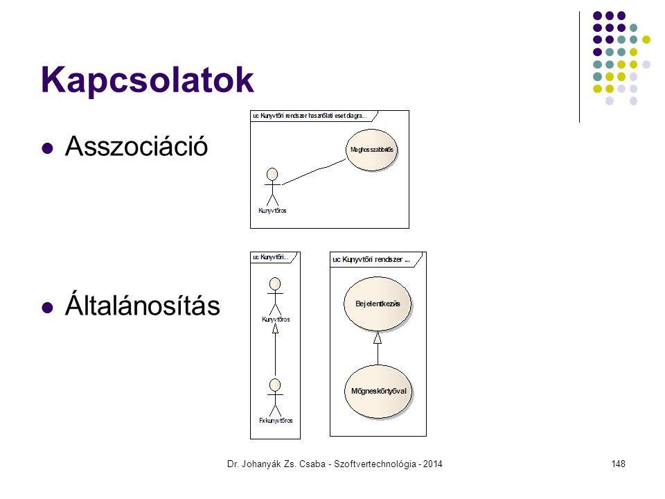 Dr. Johanyák Zs. Csaba - Szoftvertechnológia - 2014 Kapcsolatok Asszociáció Általánosítás 148