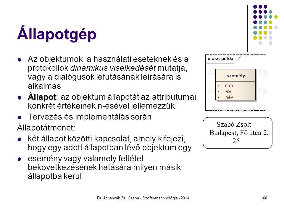 Dr. Johanyák Zs. Csaba - Szoftvertechnológia - 2014 Állapotgép Az objektumok, a használati eseteknek és a protokollok dinamikus viselkedését mutatja,
