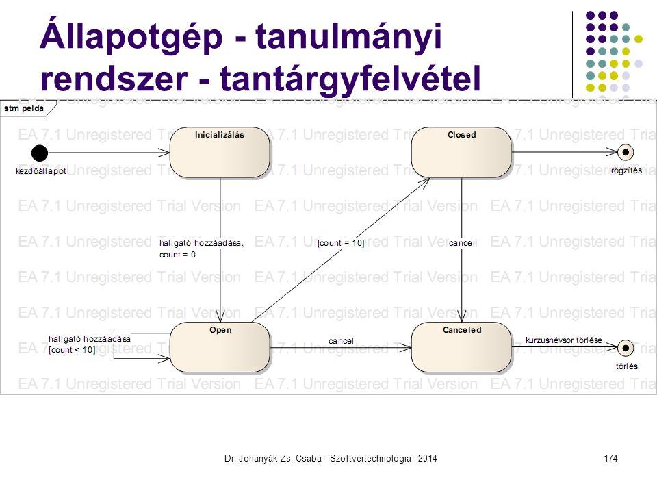 Dr. Johanyák Zs. Csaba - Szoftvertechnológia - 2014 Állapotgép - tanulmányi rendszer - tantárgyfelvétel 174