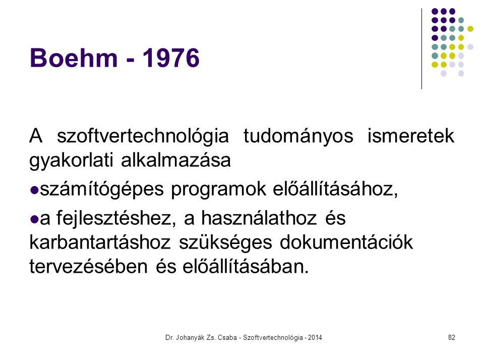 Dr. Johanyák Zs. Csaba - Szoftvertechnológia - 2014 Boehm - 1976 A szoftvertechnológia tudományos ismeretek gyakorlati alkalmazása számítógépes progra