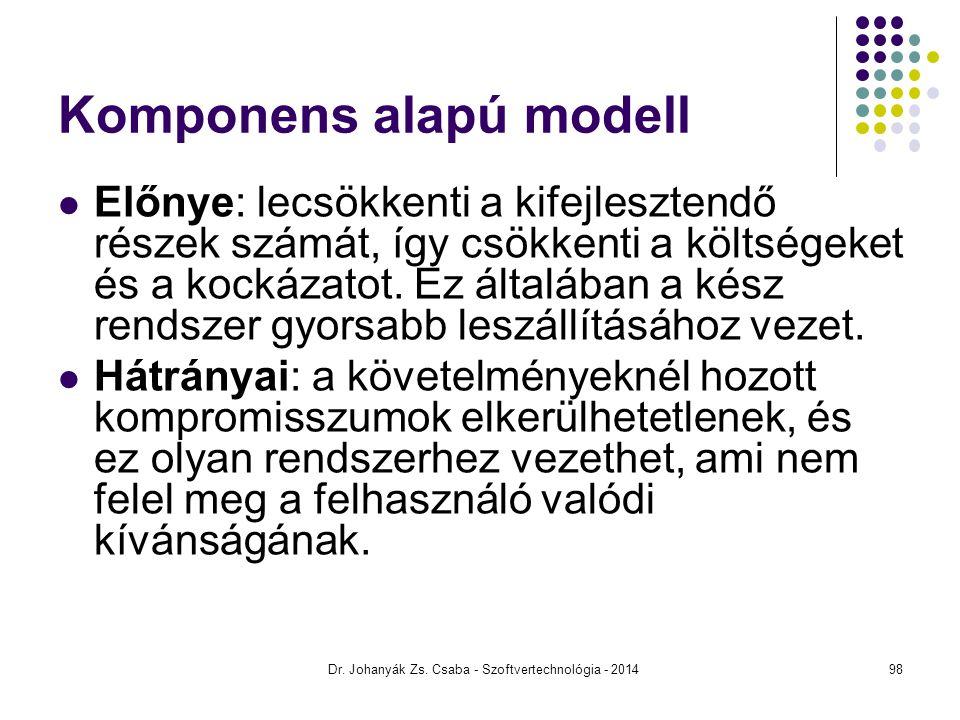 Komponens alapú modell Előnye: lecsökkenti a kifejlesztendő részek számát, így csökkenti a költségeket és a kockázatot. Ez általában a kész rendszer g