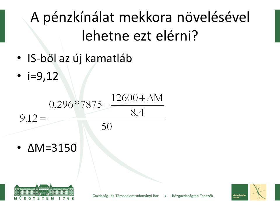 A pénzkínálat mekkora növelésével lehetne ezt elérni? IS-ből az új kamatláb i=9,12 ΔM=3150