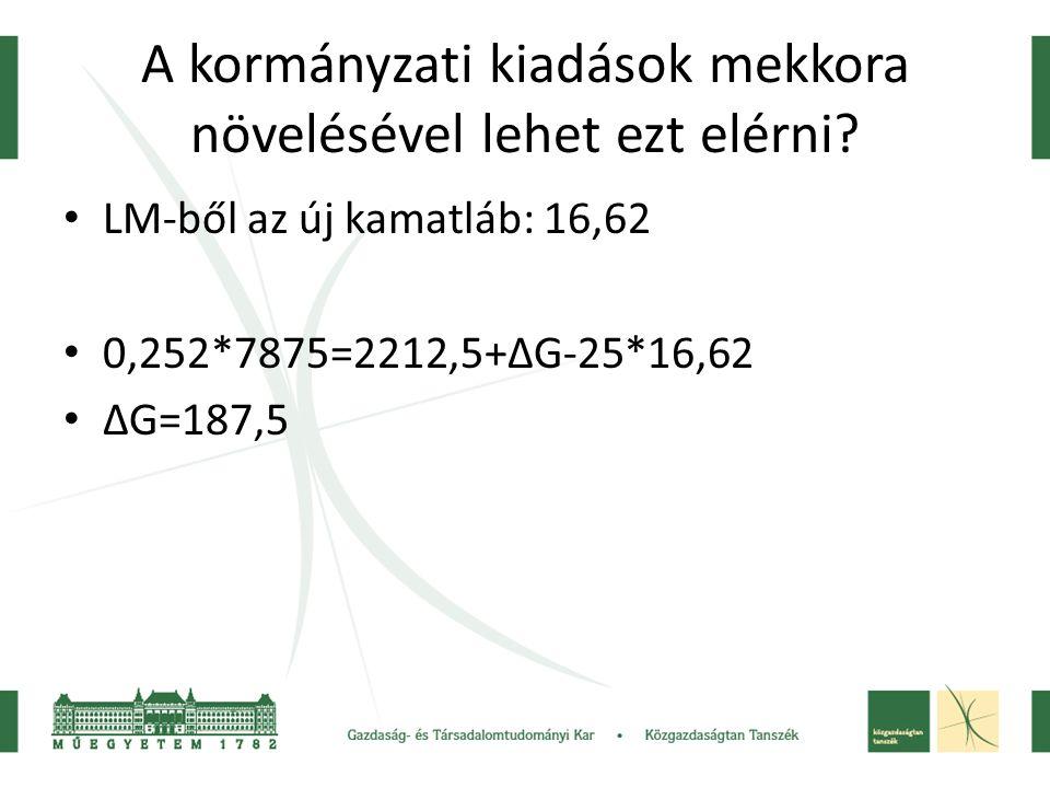 A kormányzati kiadások mekkora növelésével lehet ezt elérni? LM-ből az új kamatláb: 16,62 0,252*7875=2212,5+ΔG-25*16,62 ΔG=187,5