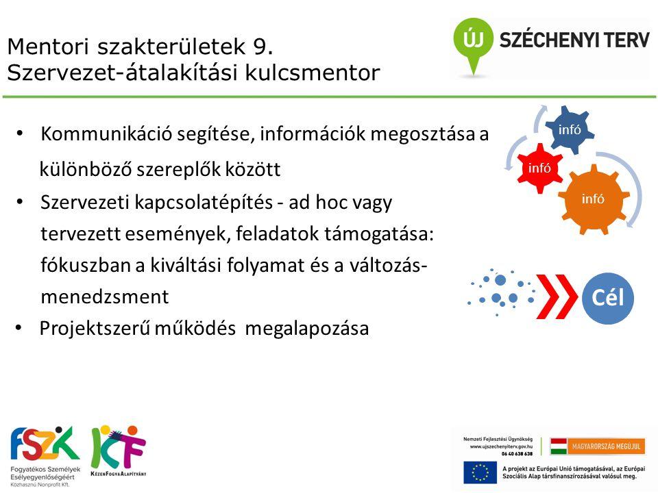 Mentori szakterületek 9. Szervezet-átalakítási kulcsmentor Kommunikáció segítése, információk megosztása a különböző szereplők között Szervezeti kapcs