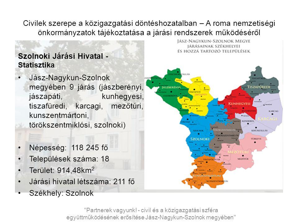 Civilek szerepe a közigazgatási döntéshozatalban – A roma nemzetiségi önkormányzatok tájékoztatása a járási rendszerek működéséről Szolnoki Járási Hivatal létszáma és szervezete VI.