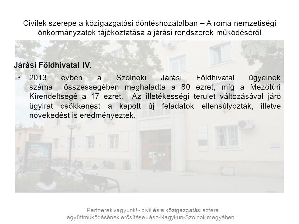 Civilek szerepe a közigazgatási döntéshozatalban – A roma nemzetiségi önkormányzatok tájékoztatása a járási rendszerek működéséről Járási Földhivatal IV.