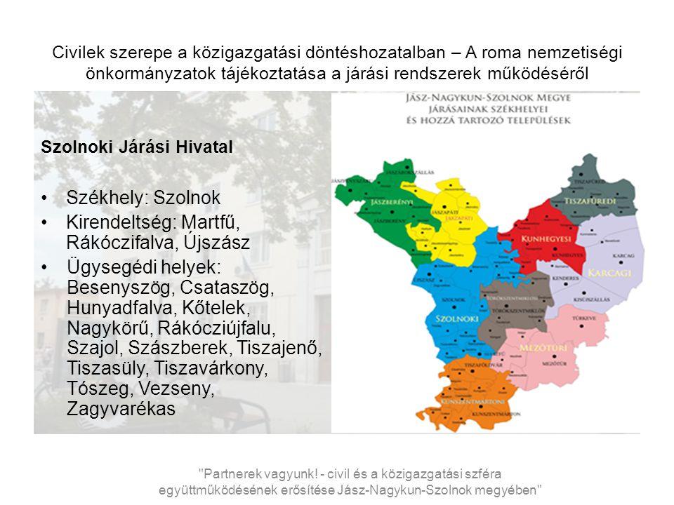 Civilek szerepe a közigazgatási döntéshozatalban – A roma nemzetiségi önkormányzatok tájékoztatása a járási rendszerek működéséről Szolnoki Járási Hivatal létszáma és szervezete VII..