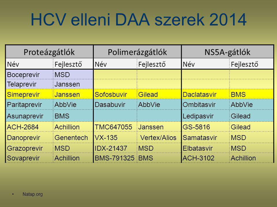 HCV elleni DAA szerek 2014 Natap.org ProteázgátlókPolimerázgátlókNS5A-gátlók NévFejlesztőNévFejlesztőNévFejlesztő BoceprevirMSD TelaprevirJanssen Sime