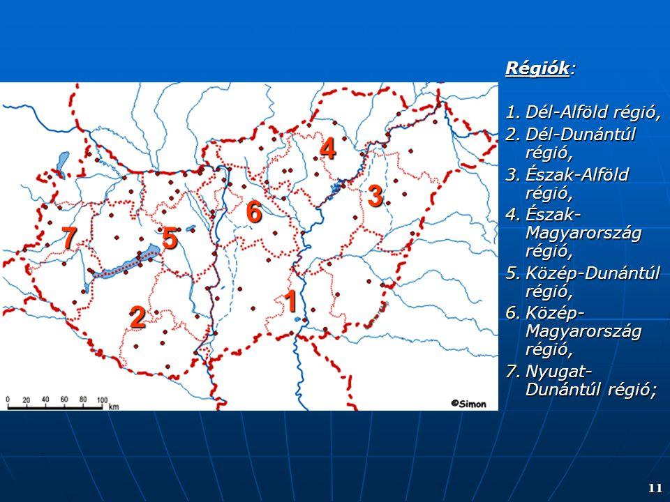 11 Régiók: 1.Dél-Alföld régió, 2.Dél-Dunántúl régió, 3.Észak-Alföld régió, 4.Észak- Magyarország régió, 5.Közép-Dunántúl régió, 6.Közép- Magyarország