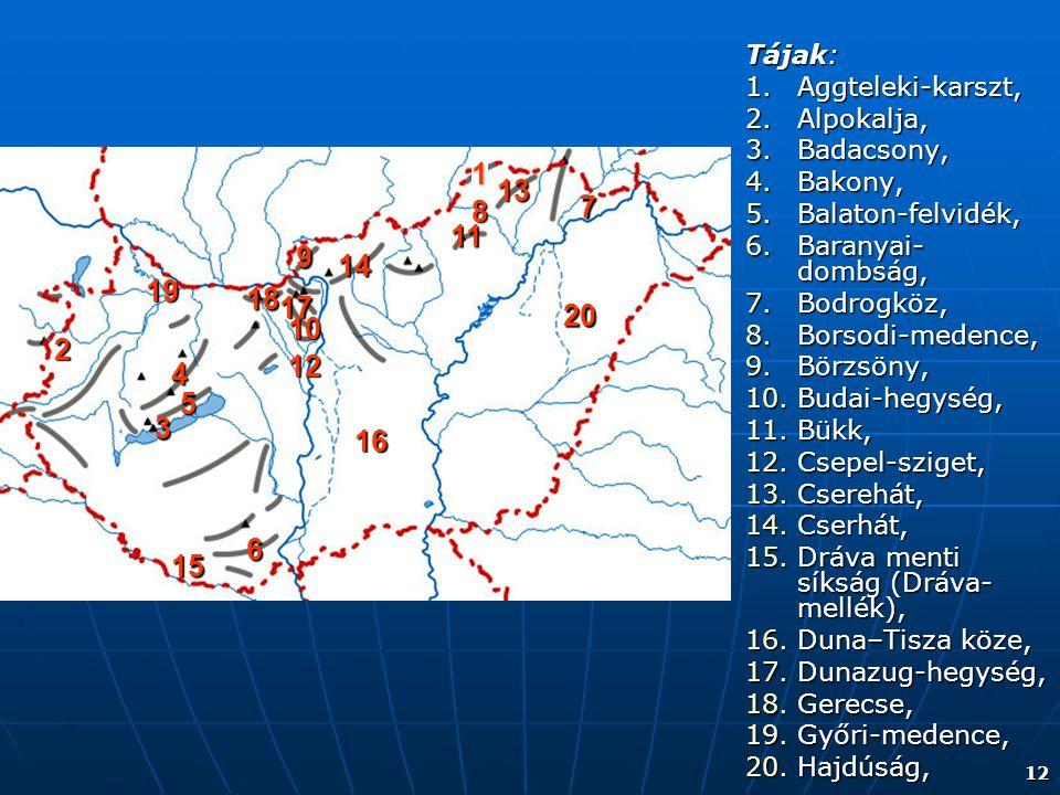 12 Tájak: 1.Aggteleki-karszt, 2.Alpokalja, 3.Badacsony, 4.Bakony, 5.Balaton-felvidék, 6.Baranyai- dombság, 7.Bodrogköz, 8.Borsodi-medence, 9.Börzsöny,
