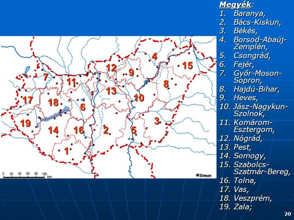 20 Megyék: 1.Baranya, 2.Bács-Kiskun, 3.Békés, 4.Borsod-Abaúj- Zemplén, 5.Csongrád, 6.Fejér, 7.Győr-Moson- Sopron, 8.Hajdú-Bihar, 9.Heves, 10.Jász-Nagy