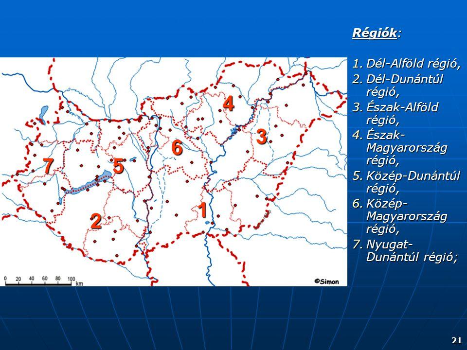 21 Régiók: 1.Dél-Alföld régió, 2.Dél-Dunántúl régió, 3.Észak-Alföld régió, 4.Észak- Magyarország régió, 5.Közép-Dunántúl régió, 6.Közép- Magyarország
