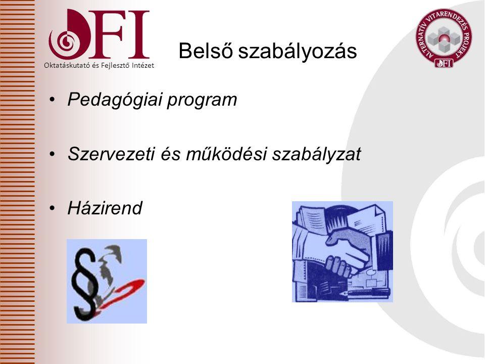 Oktatáskutató és Fejlesztő Intézet Belső szabályozás Pedagógiai program Szervezeti és működési szabályzat Házirend