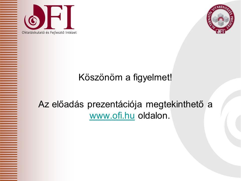 Oktatáskutató és Fejlesztő Intézet Köszönöm a figyelmet! Az előadás prezentációja megtekinthető a www.ofi.hu oldalon. www.ofi.hu