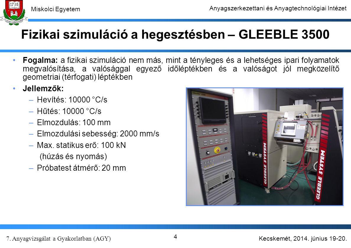Kecskemét, 2014. június 19-20. 7. Anyagvizsgálat a Gyakorlatban (AGY) Miskolci Egyetem Anyagszerkezettani és Anyagtechnológiai Intézet 4 Fizikai szimu