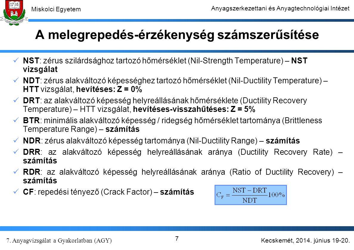 Kecskemét, 2014. június 19-20. 7. Anyagvizsgálat a Gyakorlatban (AGY) Miskolci Egyetem Anyagszerkezettani és Anyagtechnológiai Intézet 7 A melegrepedé