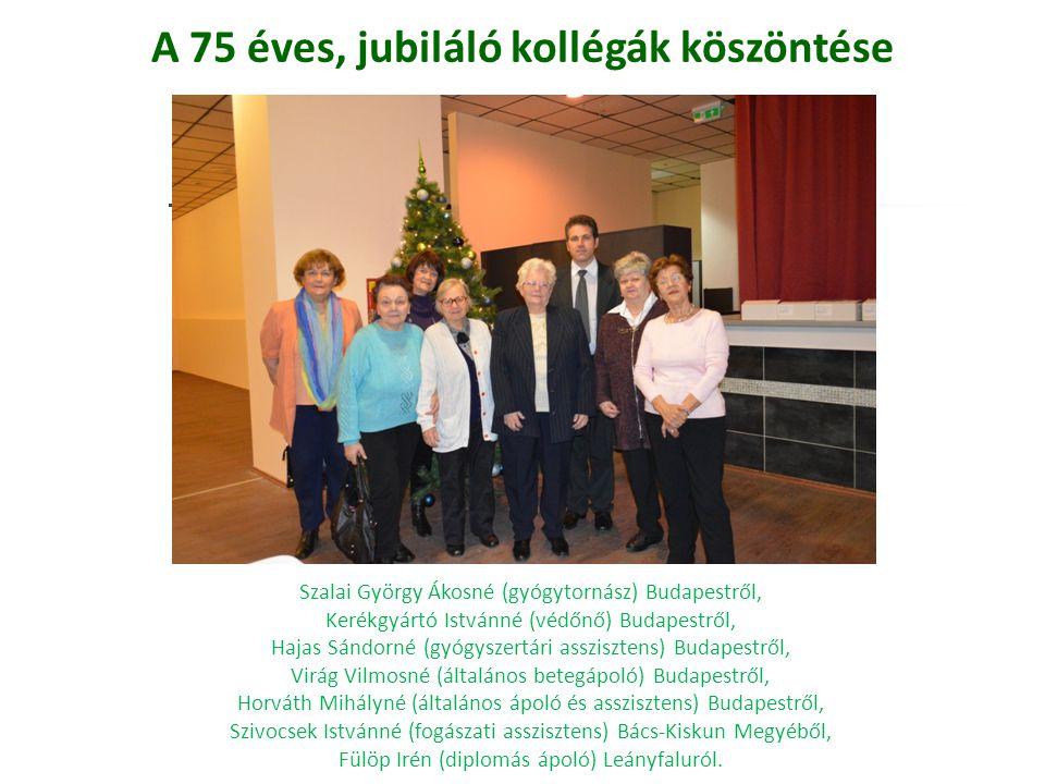 A 75 éves, jubiláló kollégák köszöntése Szalai György Ákosné (gyógytornász) Budapestről, Kerékgyártó Istvánné (védőnő) Budapestről, Hajas Sándorné (gy