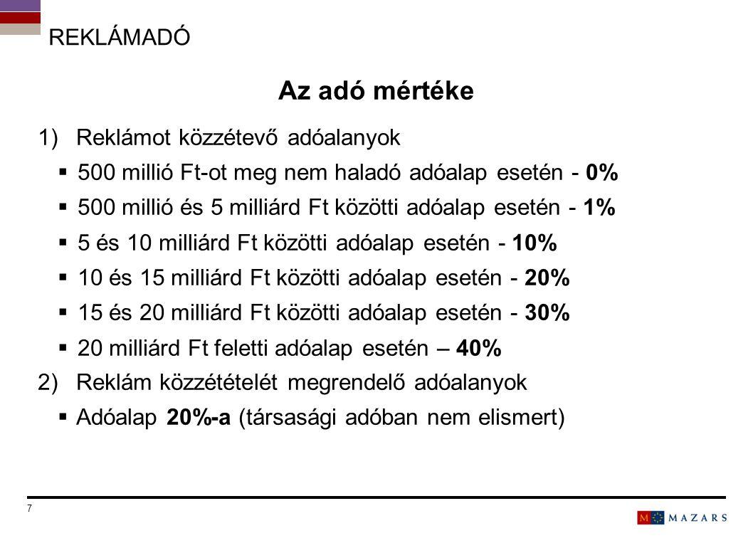 REKLÁMADÓ Az adó mértéke 1)Reklámot közzétevő adóalanyok  500 millió Ft-ot meg nem haladó adóalap esetén - 0%  500 millió és 5 milliárd Ft közötti a