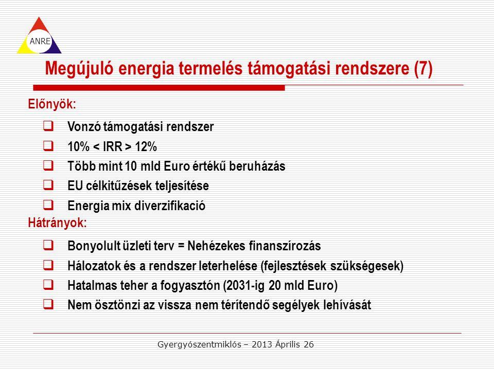 ANRE Előnyök: Hátrányok: Megújuló energia termelés támogatási rendszere (7)  Vonzó támogatási rendszer  10% 12%  Több mint 10 mld Euro értékű beruházás  EU célkitűzések teljesítése  Energia mix diverzifikació Gyergyószentmiklós – 2013 Április 26  Bonyolult üzleti terv = Nehézekes finanszírozás  Hálozatok és a rendszer leterhelése (fejlesztések szükségesek)  Hatalmas teher a fogyasztón (2031-ig 20 mld Euro)  Nem ösztönzi az vissza nem térítendő segélyek lehívását