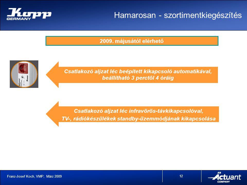 Franz-Josef Koch, VMP; März 2009 12 Csatlakozó aljzat léc infravörös-távkikapcsolóval, TV-, rádiókészülékek standby-üzemmódjának kikapcsolása 2009.