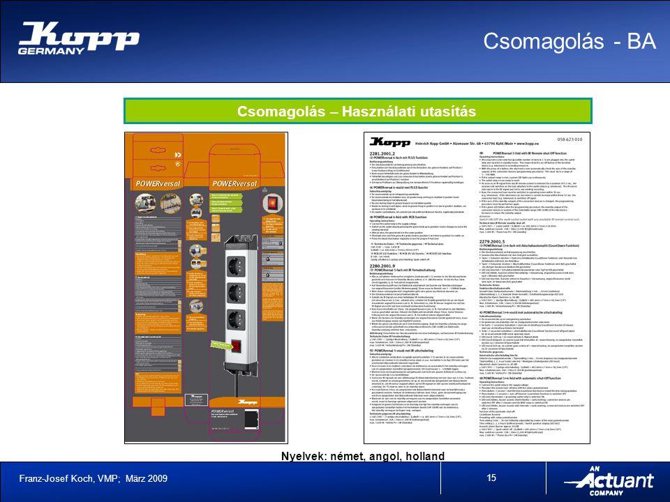 Franz-Josef Koch, VMP; März 2009 15 Csomagolás - BA Csomagolás – Használati utasítás Nyelvek: német, angol, holland
