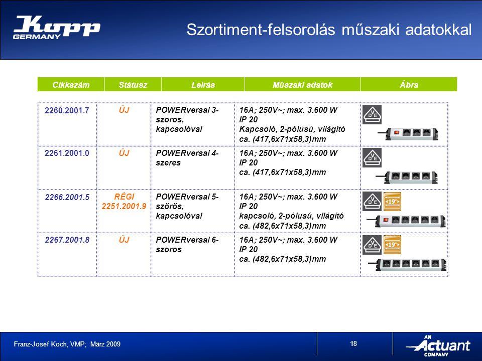 Franz-Josef Koch, VMP; März 2009 18 CikkszámStátuszLeírásMűszaki adatokÁbra 2260.2001.7ÚJPOWERversal 3- szoros, kapcsolóval 16A; 250V~; max.