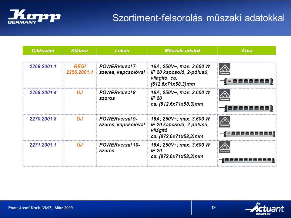Franz-Josef Koch, VMP; März 2009 19 CikkszámStátuszLeírásMűszaki adatokÁbra 2268.2001.1RÉGI 2256.2001.4 POWERversal 7- szeres, kapcsolóval 16A; 250V~; max.