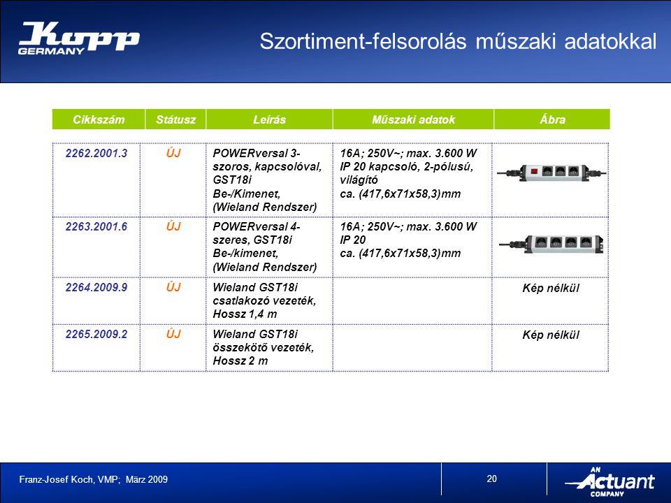 Franz-Josef Koch, VMP; März 2009 20 CikkszámStátuszLeírásMűszaki adatokÁbra 2262.2001.3ÚJPOWERversal 3- szoros, kapcsolóval, GST18i Be-/Kimenet, (Wieland Rendszer) 16A; 250V~; max.