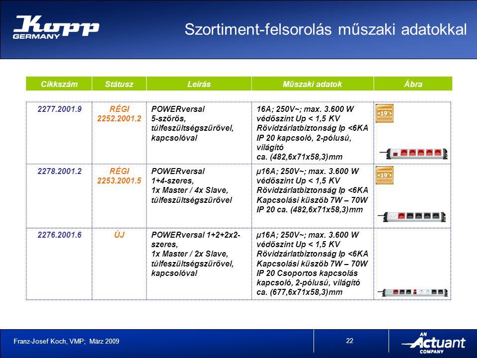 Franz-Josef Koch, VMP; März 2009 22 CikkszámStátuszLeírásMűszaki adatokÁbra 2277.2001.9RÉGI 2252.2001.2 POWERversal 5-szörös, túlfeszültségszűrővel, kapcsolóval 16A; 250V~; max.