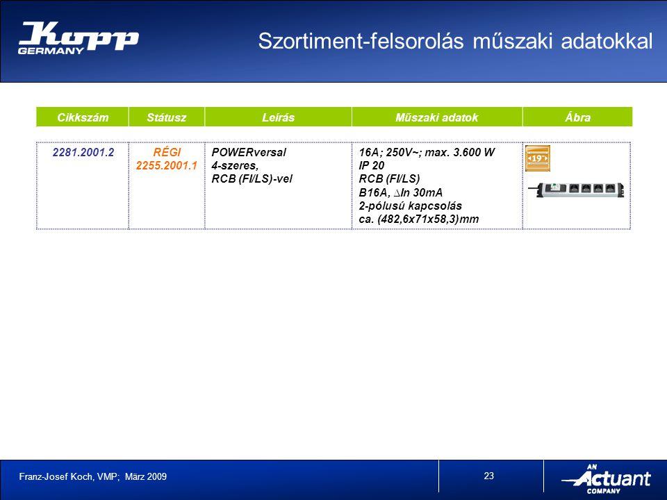 Franz-Josef Koch, VMP; März 2009 23 CikkszámStátuszLeírásMűszaki adatokÁbra 2281.2001.2RÉGI 2255.2001.1 POWERversal 4-szeres, RCB (FI/LS)-vel 16A; 250V~; max.