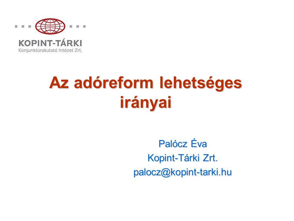 Az adóreform lehetséges irányai Palócz Éva Kopint-Tárki Zrt. palocz@kopint-tarki.hu