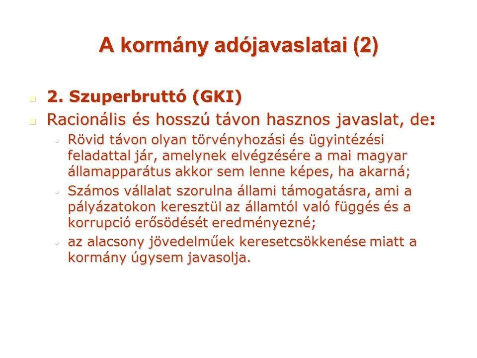 A kormány adójavaslatai (2) 2. Szuperbruttó (GKI) 2.