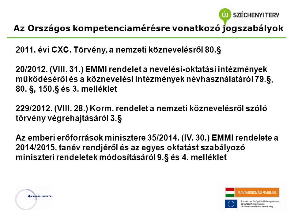 Az Országos kompetenciamérésre vonatkozó jogszabályok 2011.
