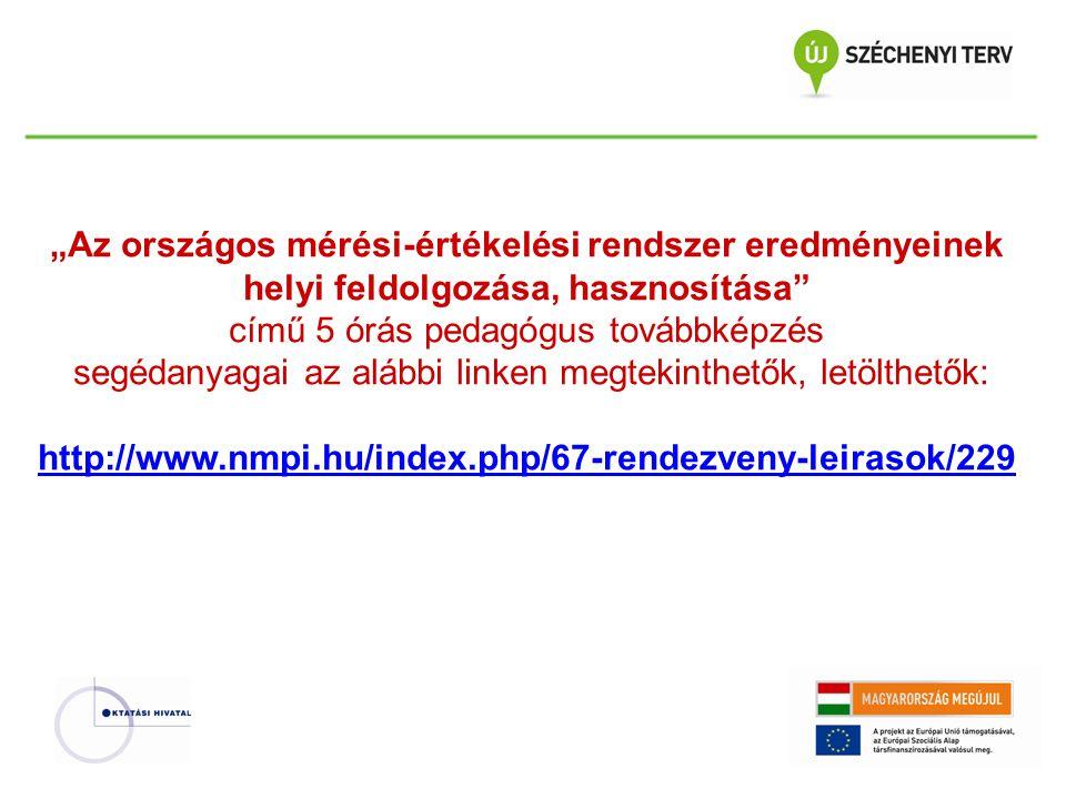 """""""Az országos mérési-értékelési rendszer eredményeinek helyi feldolgozása, hasznosítása című 5 órás pedagógus továbbképzés segédanyagai az alábbi linken megtekinthetők, letölthetők: http://www.nmpi.hu/index.php/67-rendezveny-leirasok/229 http://www.nmpi.hu/index.php/67-rendezveny-leirasok/229"""