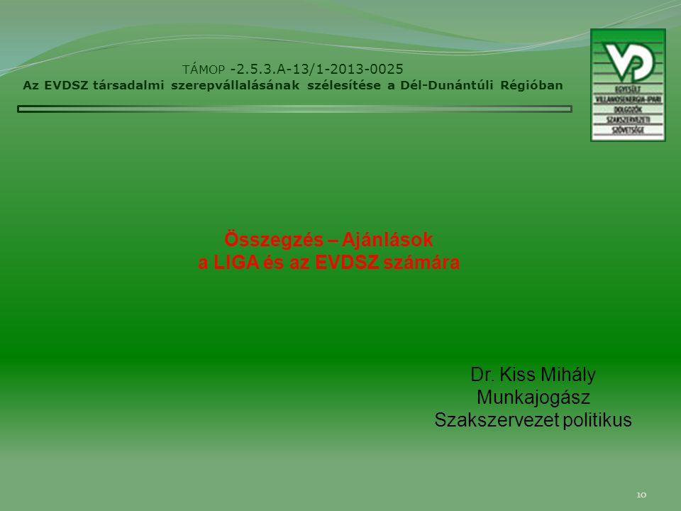 10 TÁMOP -2.5.3.A-13/1-2013-0025 Az EVDSZ társadalmi szerepvállalásának szélesítése a Dél-Dunántúli Régióban Dr.