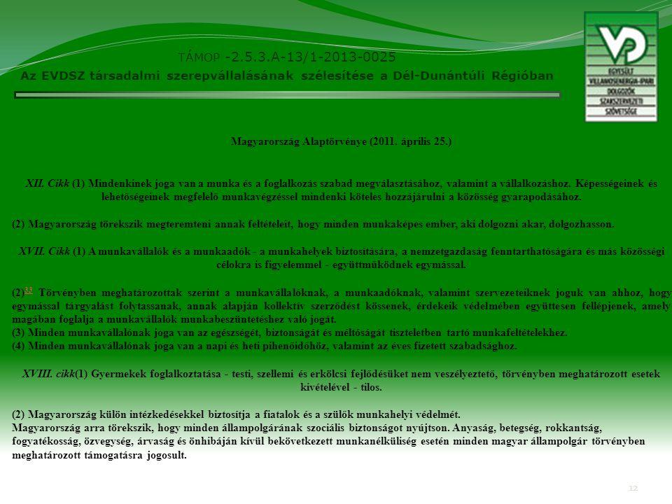 12 TÁMOP -2.5.3.A-13/1-2013-0025 Az EVDSZ társadalmi szerepvállalásának szélesítése a Dél-Dunántúli Régióban Magyarország Alaptörvénye (2011.
