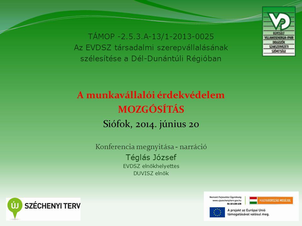 TÁMOP -2.5.3.A-13/1-2013-0025 Az EVDSZ társadalmi szerepvállalásának szélesítése a Dél-Dunántúli Régióban 2 A munkavállalói érdekvédelem MOZGÓSÍTÁS Siófok, 2014.