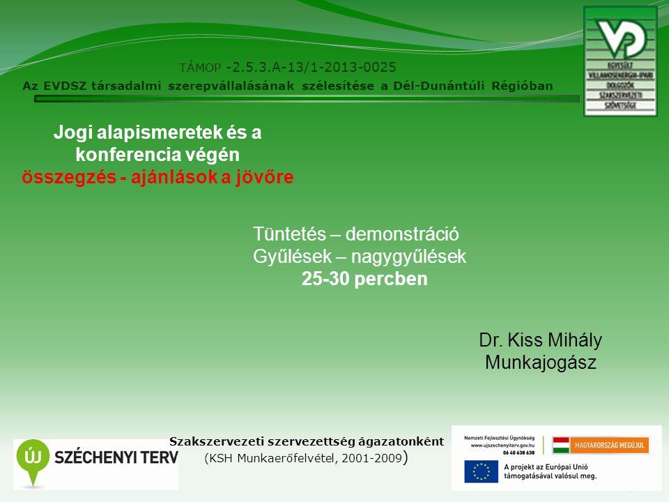 TÁMOP -2.5.3.A-13/1-2013-0025 Az EVDSZ társadalmi szerepvállalásának szélesítése a Dél-Dunántúli Régióban 5 Szakszervezeti szervezettség ágazatonként (KSH Munkaerőfelvétel, 2001-2009 ) Dr.