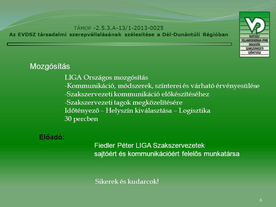 6 TÁMOP -2.5.3.A-13/1-2013-0025 Az EVDSZ társadalmi szerepvállalásának szélesítése a Dél-Dunántúli Régióban Mozgósítás Előadó: Fiedler Péter LIGA Szakszervezetek sajtóért és kommunikációért felelős munkatársa LIGA Országos mozgósítás -Kommunikáció, módszerek, színterei és várható érvényesülése -Szakszervezeti kommunikáció előkészítéséhez -Szakszervezeti tagok megközelítésére Időtényező – Helyszín kiválasztása – Logisztika 30 percben Sikerek és kudarcok!