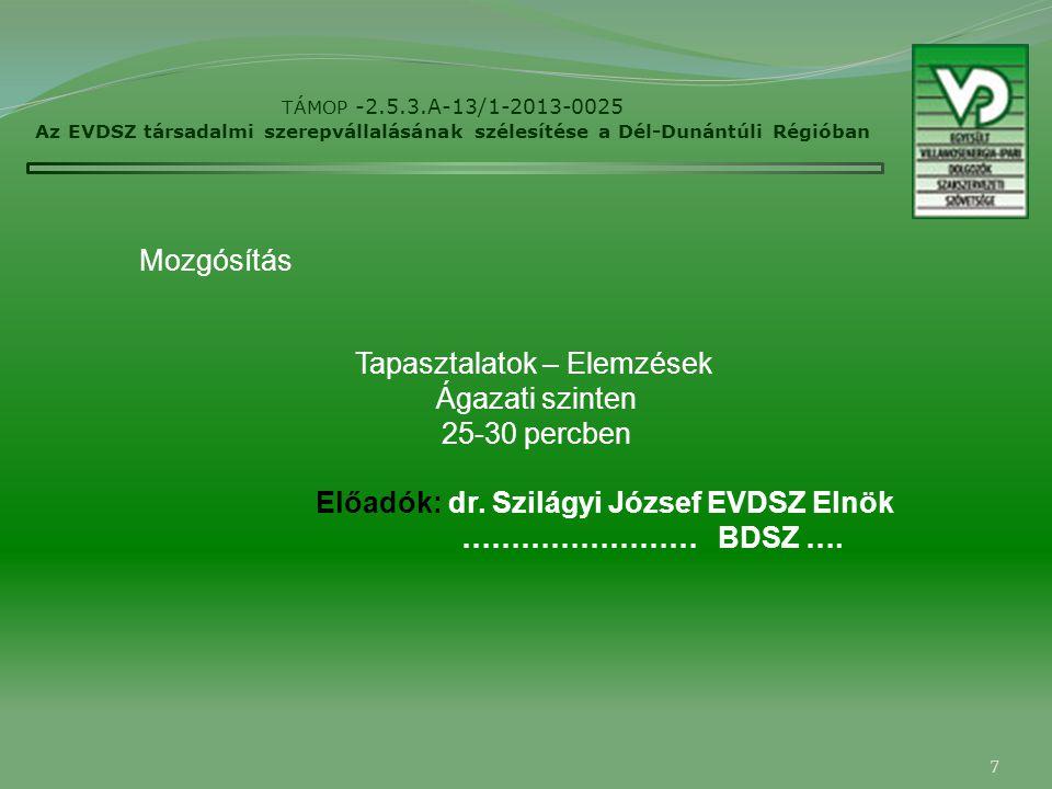 7 TÁMOP -2.5.3.A-13/1-2013-0025 Az EVDSZ társadalmi szerepvállalásának szélesítése a Dél-Dunántúli Régióban Mozgósítás Tapasztalatok – Elemzések Ágazati szinten 25-30 percben Előadók: dr.