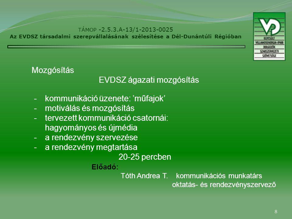 8 TÁMOP -2.5.3.A-13/1-2013-0025 Az EVDSZ társadalmi szerepvállalásának szélesítése a Dél-Dunántúli Régióban Mozgósítás -kommunikáció üzenete: 'műfajok' -motiválás és mozgósítás -tervezett kommunikáció csatornái: hagyományos és újmédia -a rendezvény szervezése -a rendezvény megtartása 20-25 percben EVDSZ ágazati mozgósítás Előadó: Tóth Andrea T.