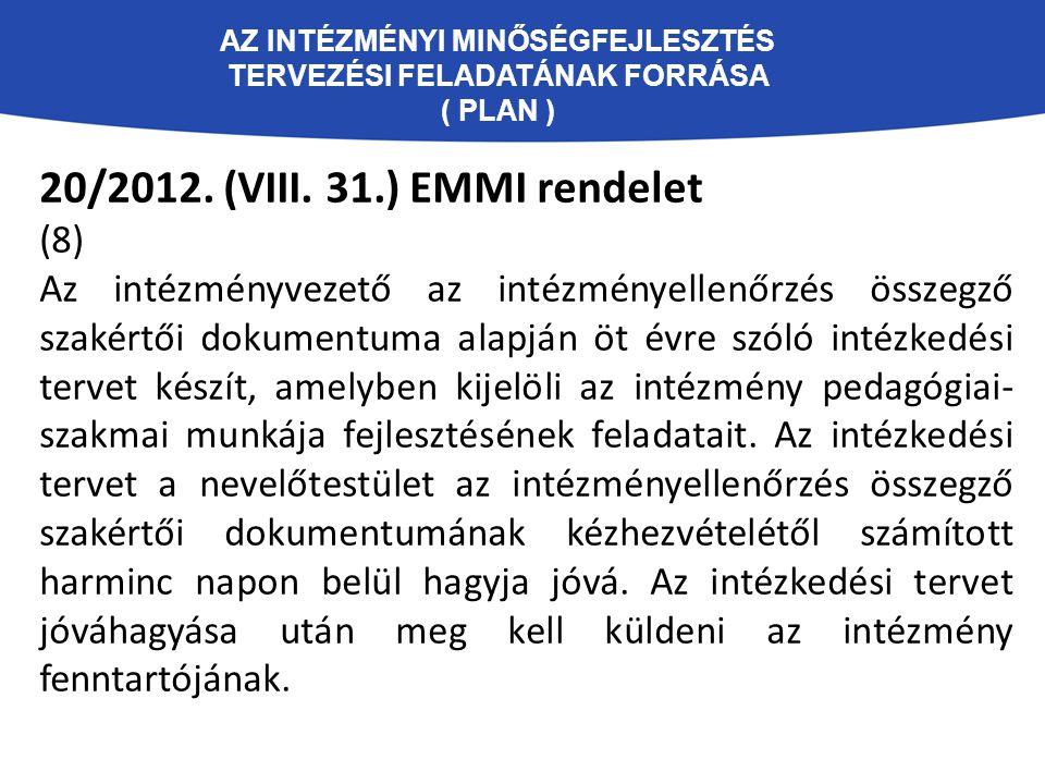 AZ INTÉZMÉNYI MINŐSÉGFEJLESZTÉS TERVEZÉSI FELADATÁNAK FORRÁSA ( PLAN ) 20/2012. (VIII. 31.) EMMI rendelet (8) Az intézményvezető az intézményellenőrzé