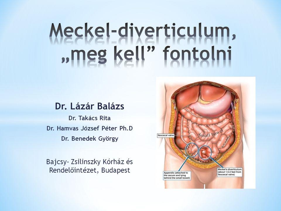 A népesség 2 %-ban 2 lábbal (40-90 cm) az ileocoecalis átmenettől proximalisan 2 inch hosszú (4-8 cm) 2 gyakori típus (gyomor 60%, pancreas 6%) 2:1 ffi: nő gyakoriság 2 éves korban leggyakoribb a manifesztáció