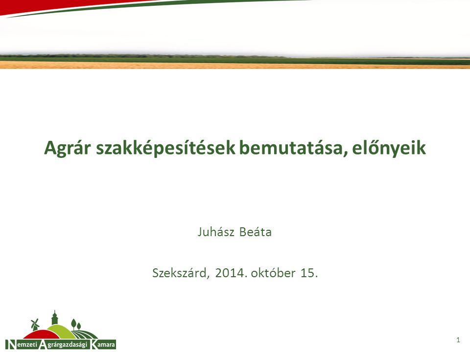 Agrár szakképesítések bemutatása, előnyeik Juhász Beáta Szekszárd, 2014. október 15. 1
