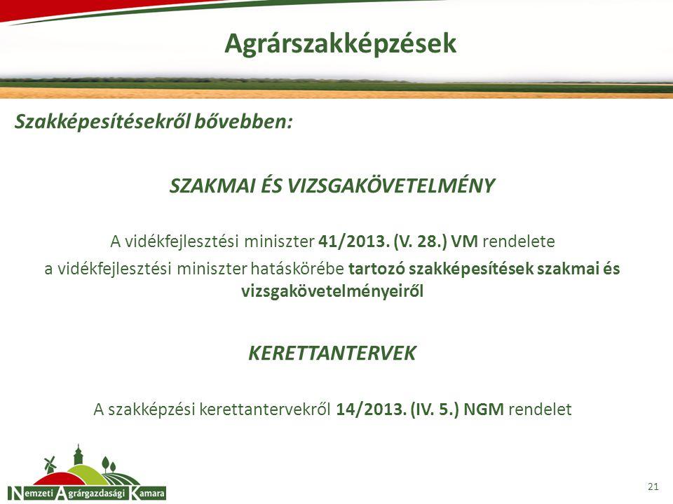 Agrárszakképzések 21 Szakképesítésekről bővebben: SZAKMAI ÉS VIZSGAKÖVETELMÉNY A vidékfejlesztési miniszter 41/2013. (V. 28.) VM rendelete a vidékfejl