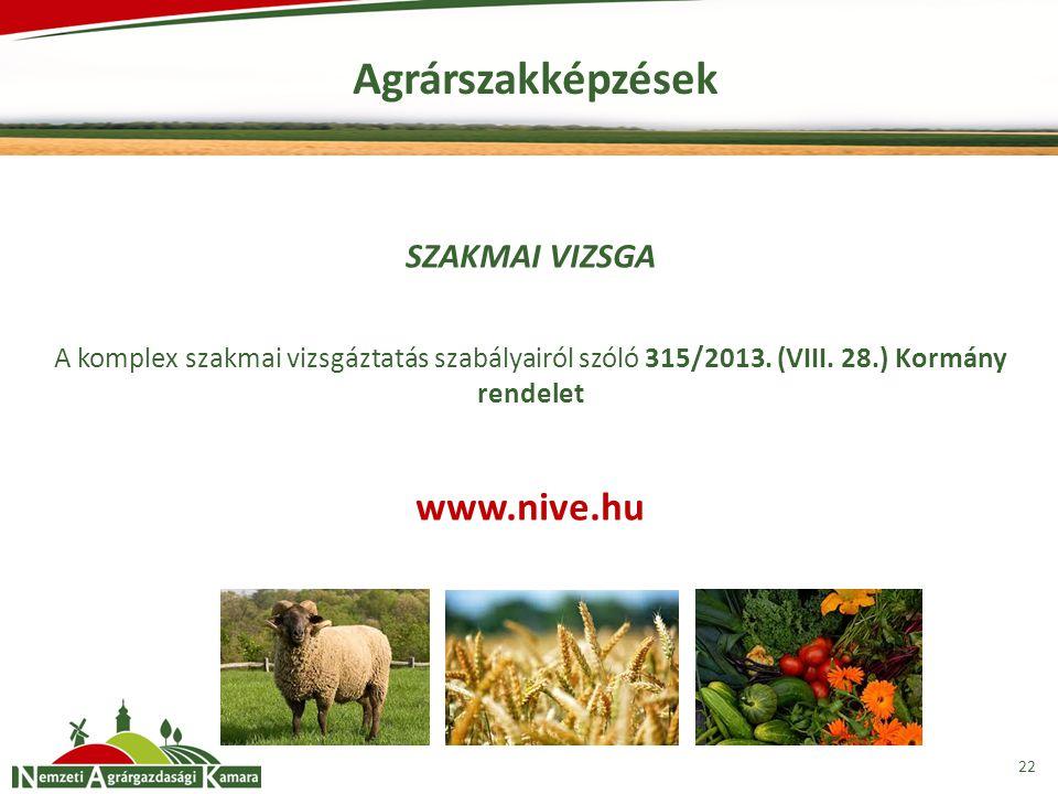 Agrárszakképzések 22 SZAKMAI VIZSGA A komplex szakmai vizsgáztatás szabályairól szóló 315/2013. (VIII. 28.) Kormány rendelet www.nive.hu
