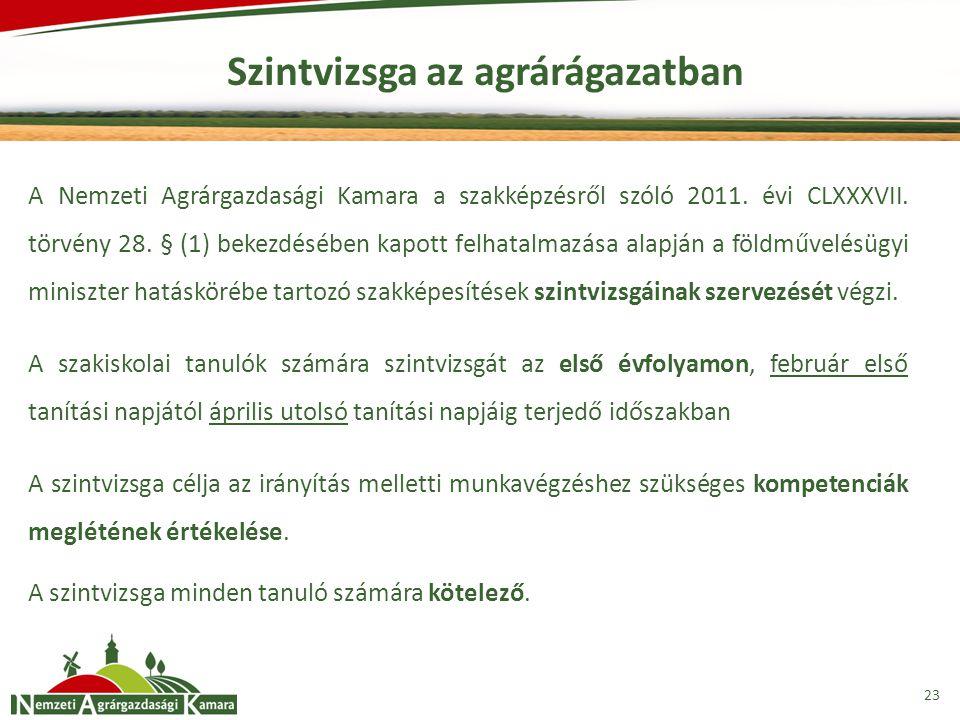 Szintvizsga az agrárágazatban 23 A Nemzeti Agrárgazdasági Kamara a szakképzésről szóló 2011. évi CLXXXVII. törvény 28. § (1) bekezdésében kapott felha