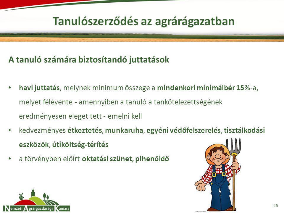 Tanulószerződés az agrárágazatban 26 A tanuló számára biztosítandó juttatások havi juttatás, melynek minimum összege a mindenkori minimálbér 15%-a, melyet félévente - amennyiben a tanuló a tankötelezettségének eredményesen eleget tett - emelni kell kedvezményes étkeztetés, munkaruha, egyéni védőfelszerelés, tisztálkodási eszközök, útiköltség-térítés a törvényben előírt oktatási szünet, pihenőidő