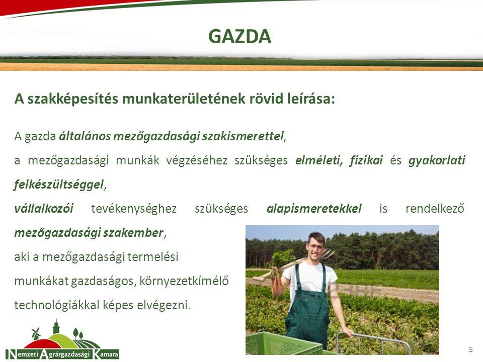 6 GAZDA A szakképesítéssel rendelkező képes: Talaj-előkészítést, vetést végezni Növényápolást végezni Gyümölcs-, szőlő- és zöldségtermesztési alapfeladatokat ellátni Tartástechnológiai feladatokat végrehajtani Gépet, épületet, építményt karbantartani, egyszerű javítást végezni Kereskedelmi tevékenységet végezni Vállalkozási, szervezési és ügyviteli tevékenységet végezni Önálló agrárgazdasági vállalkozást működtetni Alternatív jövedelem-kiegészítő tevékenységet folytatni